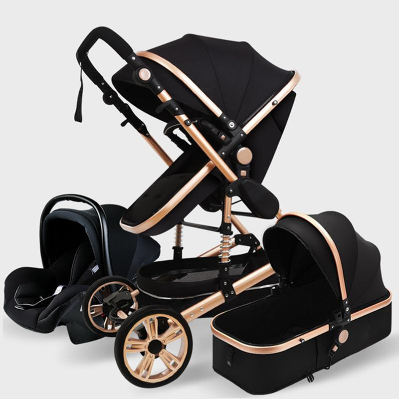 عربة أطفال فاخرة 3 في 1 حقيقي محمول عربة طفل أضعاف عربة الألومنيوم الإطار عالية المشهد عربة للأطفال الوليد