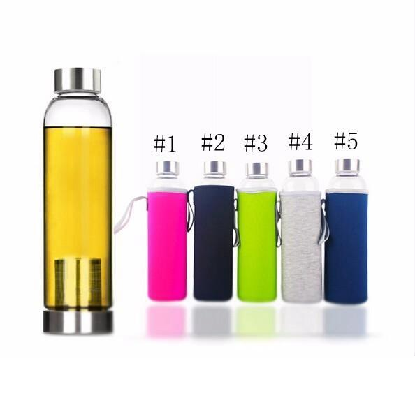Resistente de botella 550 ml de agua BPA de cristal de alta temperatura del vidrio Deporte de agua con filtro de nylon infusor Botella manga EEA1159-3