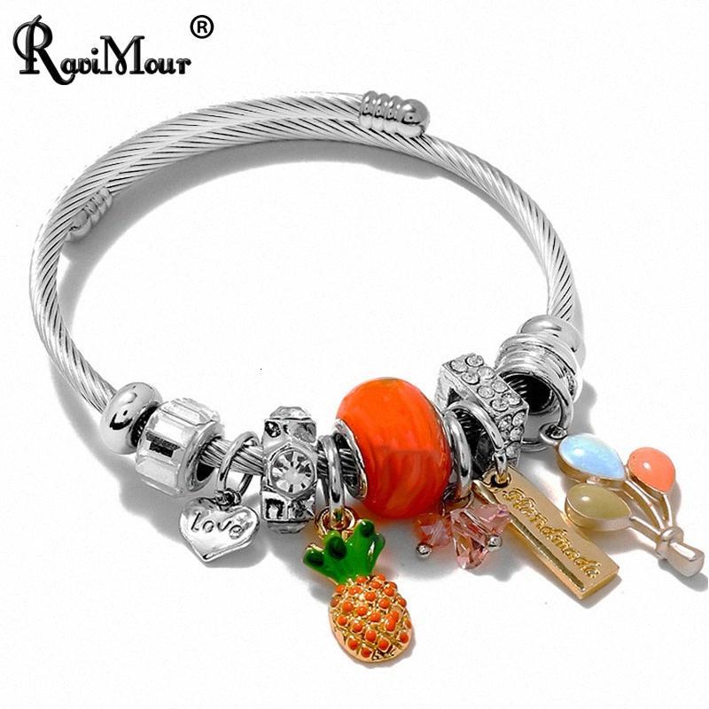 Chic émail ananas Bracelet en acier inoxydable Bracelet Femmes Accessoires Mode Bijoux Lettre d'amour Cuff Bracelets Bijoux Femme Uaec #
