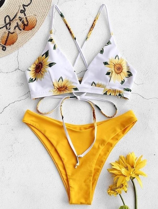 Ayçiçeği Baskılı Bikini Seti Seksi Mayo Kadınlar 2020 Mujer Push Up Destekli biquini yıkayan Bandaj Mayo Mayo Bikini