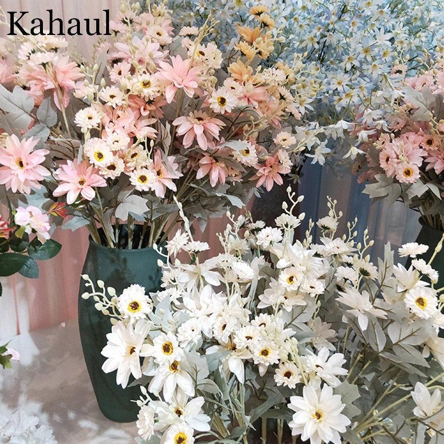 flores longo artificiais daisy de seda de alta qualidade para o casamento Decoração Quadro Principal contexto branco arranjo acessórios de decoração Ltxp #