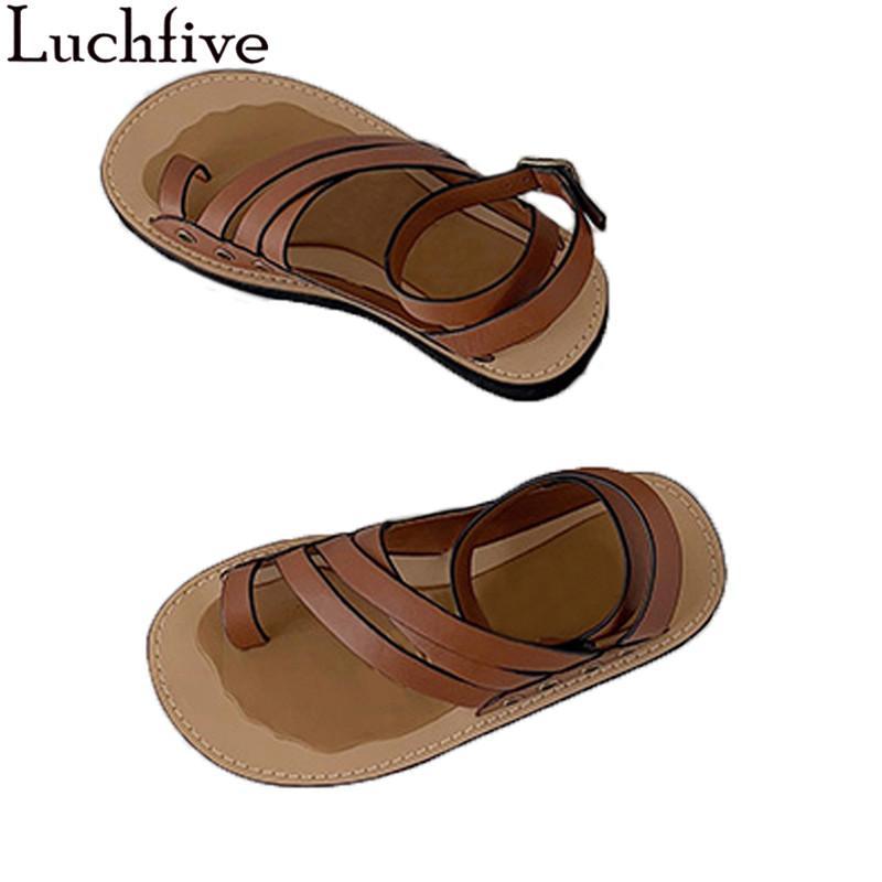2020 Dividir Toe Mulheres Sandálias Grosso Sole sapatos de mulher Belt Enrole Senhoras Retro Shoes Verão Brown Zapatos Mujer