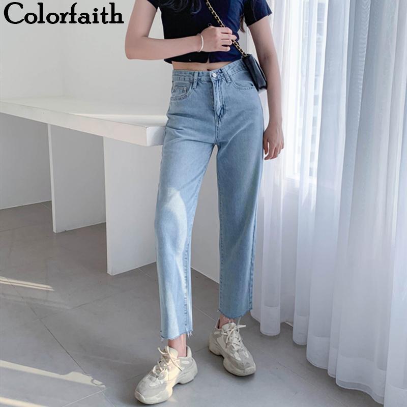 Colorfaith 2.019 mujeres jeans rectos pantalones casuales pantalones de cintura alta para las señoras Grils de la altura del tobillo J8828 CX200721