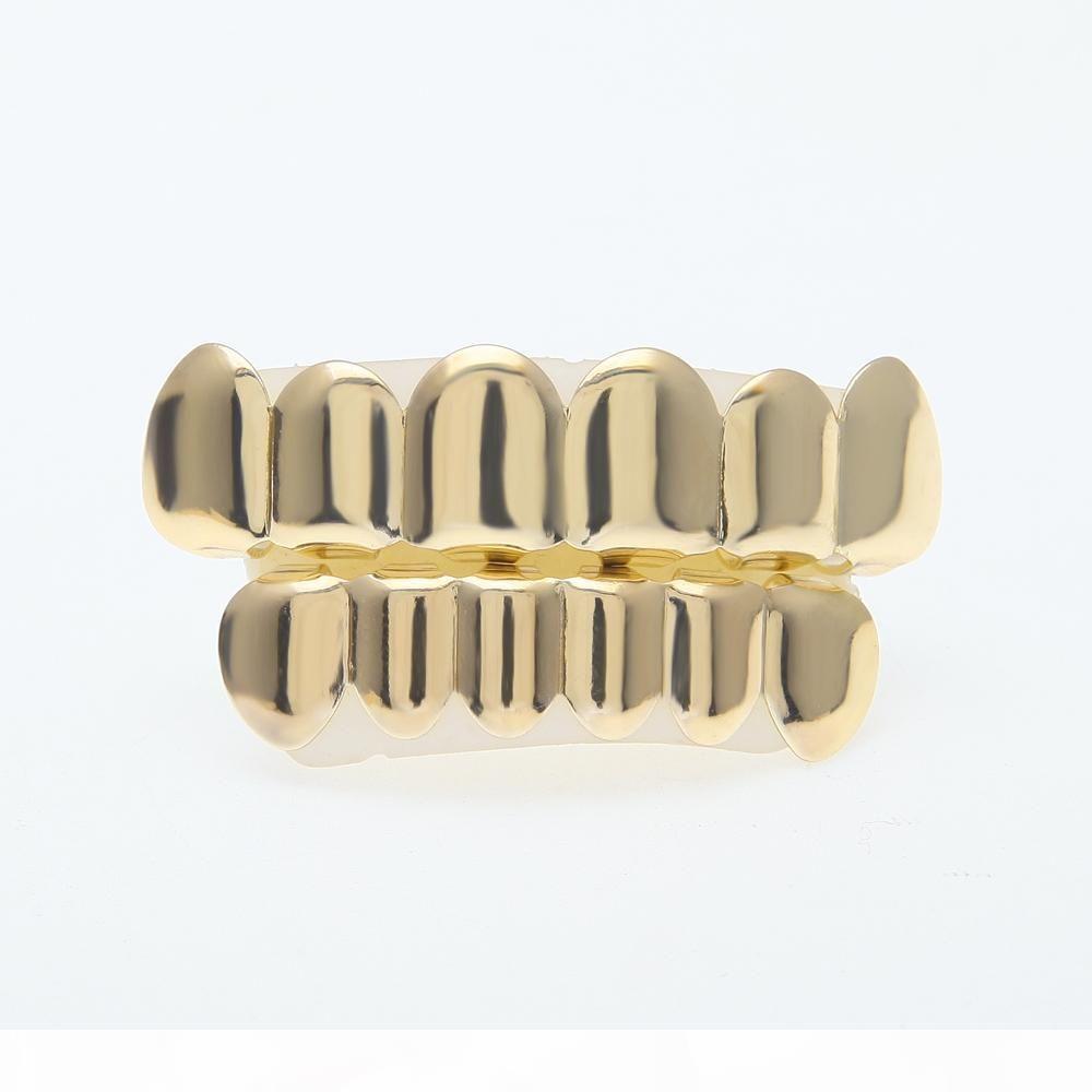 Nuevo Custom Fit 14k chapado en oro de los dientes de Hip Hop Grillz Caps Superior Inferior Conjunto parrilla para el hombre