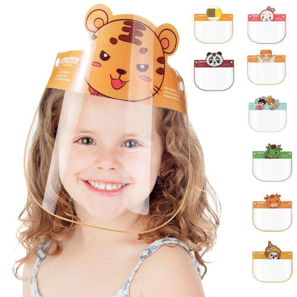 16 Styles visage Cartoon enfant Bouclier transparent anti-crachats Splash clair ECO PET réutilisable de protection anti-éclaboussures Masque Visage Bouclier