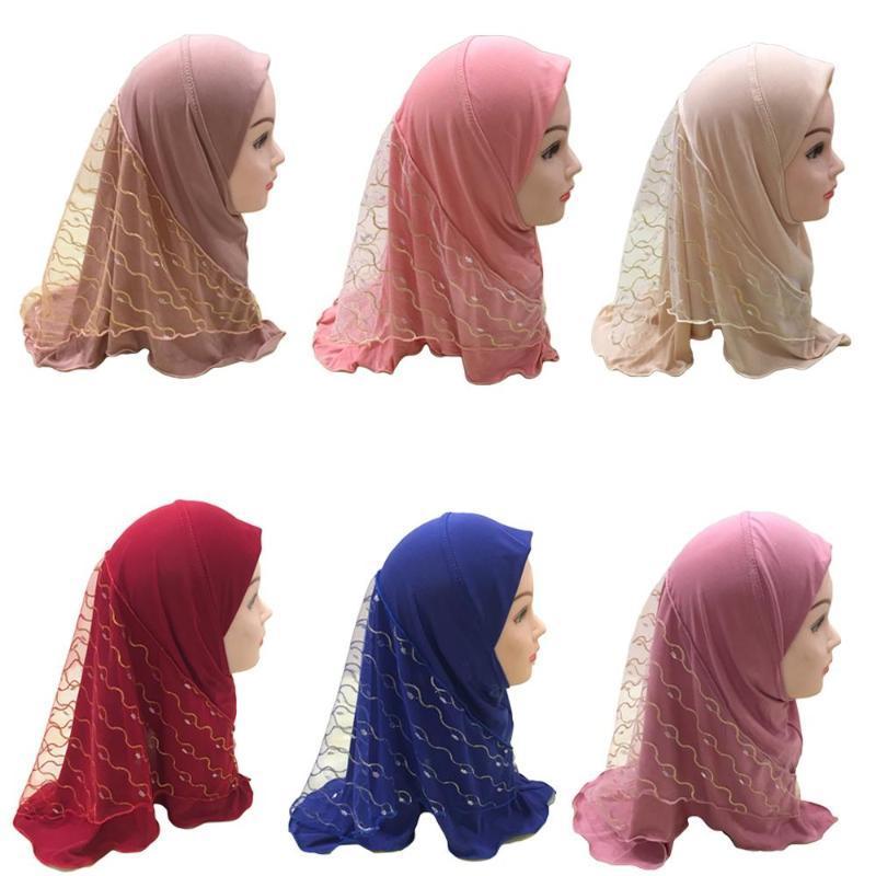 Etnik Giyim Müslüman Kızlar Çocuklar Başörtüsü Eşarp İslam Örgü Başörtüsü Kapak Kafa Wrap Şal Kapaklar Tam Namaz Şapka Arap Türban Amira Moda