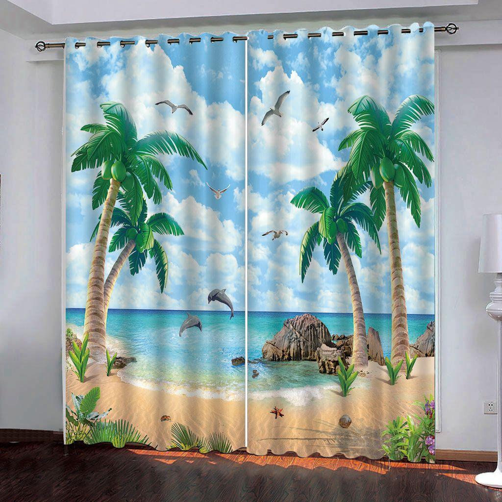3D Hermosa playa con cocoteros de Windows cortinas para la sala de estar dormitorio decorativo cortina de la cocina personalizada