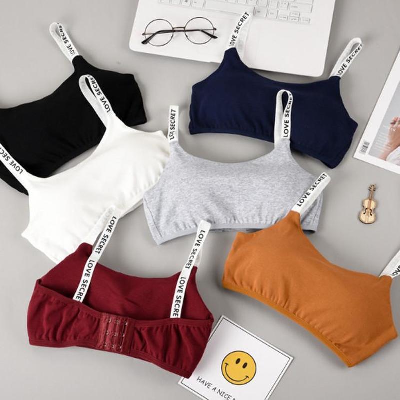 Bra fêmeas respirável destacáveis Sling Letters Confortável cor sólida Envolvido Bra Cotton Sports Vest Corset