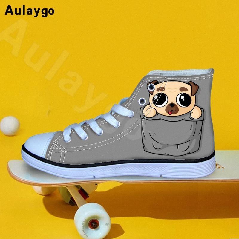 Aulaygo fumetto sveglio Pocket animale cane stampa Kids Shoes per la ragazza Ragazzi casuale che cammina Sneakers traspirante alte in tela Top Flats TKy8 #