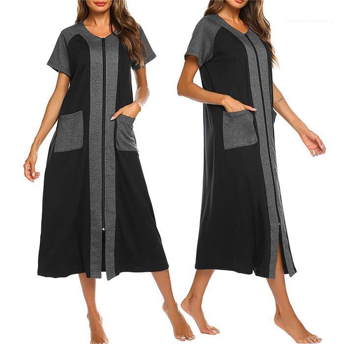 Verão Casual Vestidos Famale bolso Roupa Mulheres Colorblock Zipper Cardigan Vestido V Neck manga curta soltas