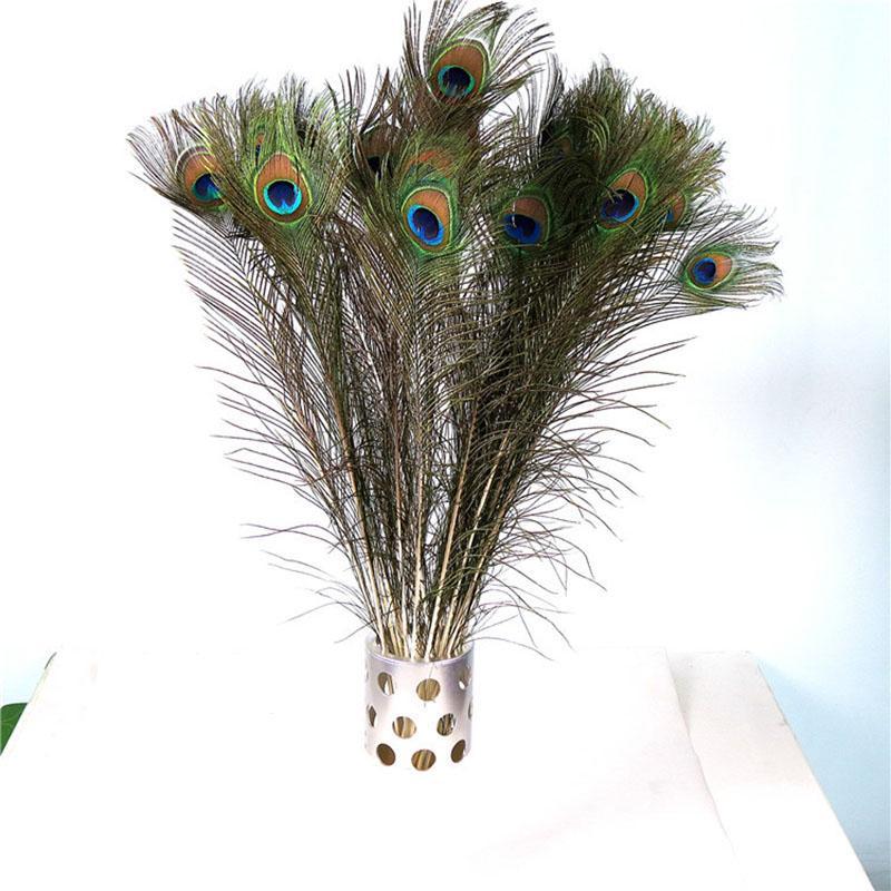 50Pcs / lot 80-90cm de mariage Décor Simulation Peacock Parti plume Décorations plumes naturelles Accueil Décoration Accessoires Salon Affichage Salle