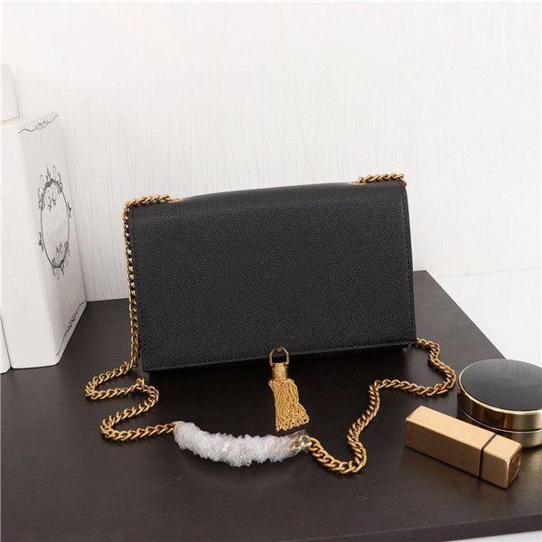 Havyar deri crossbody çanta altın gümüş siyah zincir omuz çantaları marka moda püskül kadınları kapaklı kare çanta eğik çapraz çanta