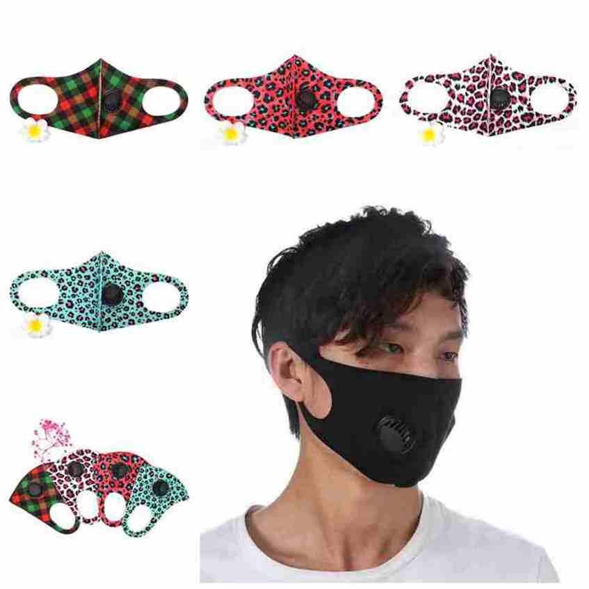 Unisex Face Mask Face Dust Anti Plaid con maschere Camo Maschere lavabili Ghiaccio Riutilizzabili Maschere in cotone Valvola di cotone Designer Leopard Silk cyz2555 respiri EFPLF