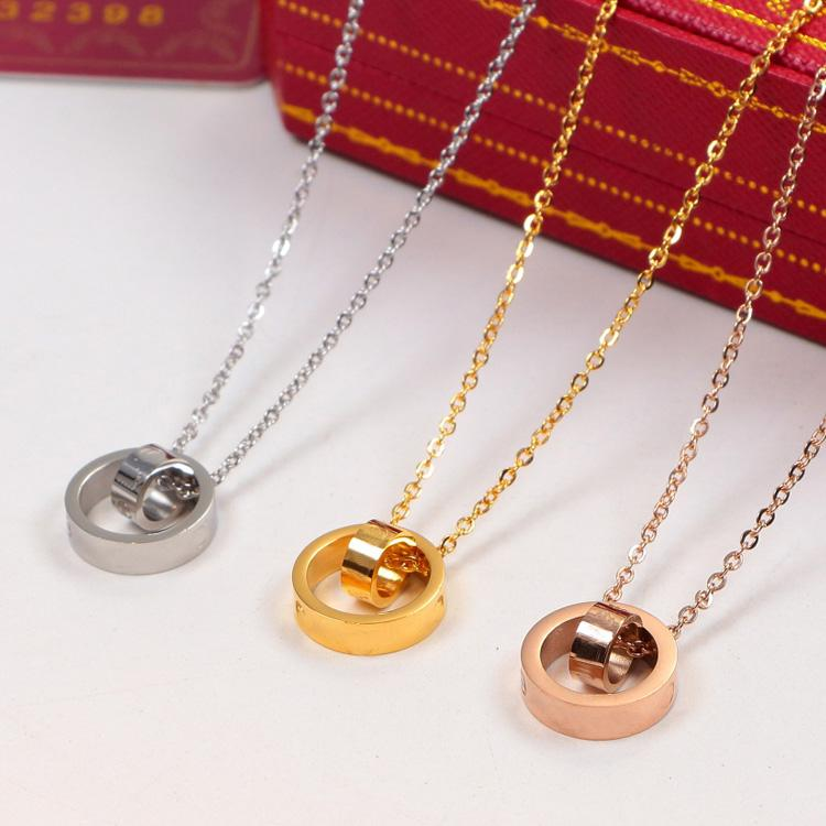 2020 LOVER Dual Circle Pendant Rose Gold Silver Color Necklace for Women Vintage Collar Costume Jewelry with original box set