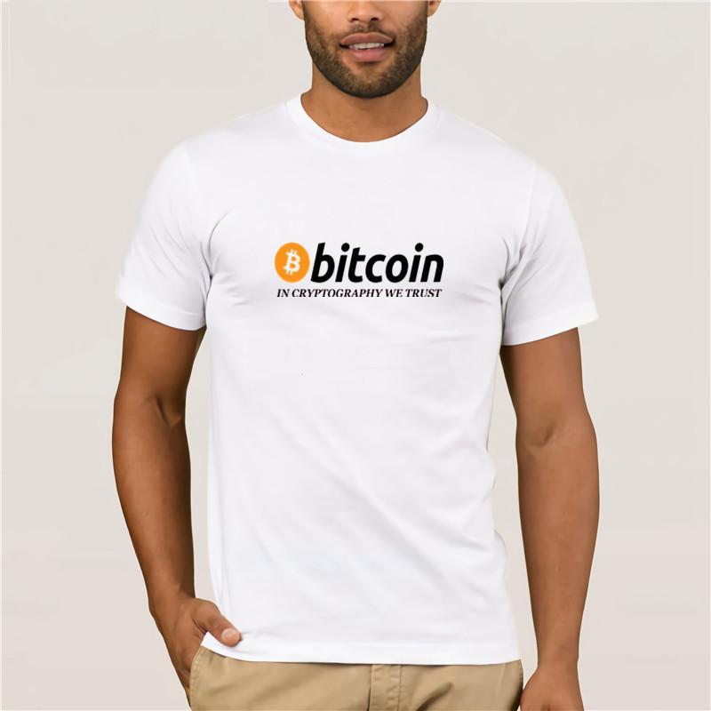 Moda tişört Trendy Top Erkek Yeni moda Erkekler T Gömlek Bitcoin olarak Kriptografi Biz Güven Erkek Ç Yaka Tişörtler Soğuk