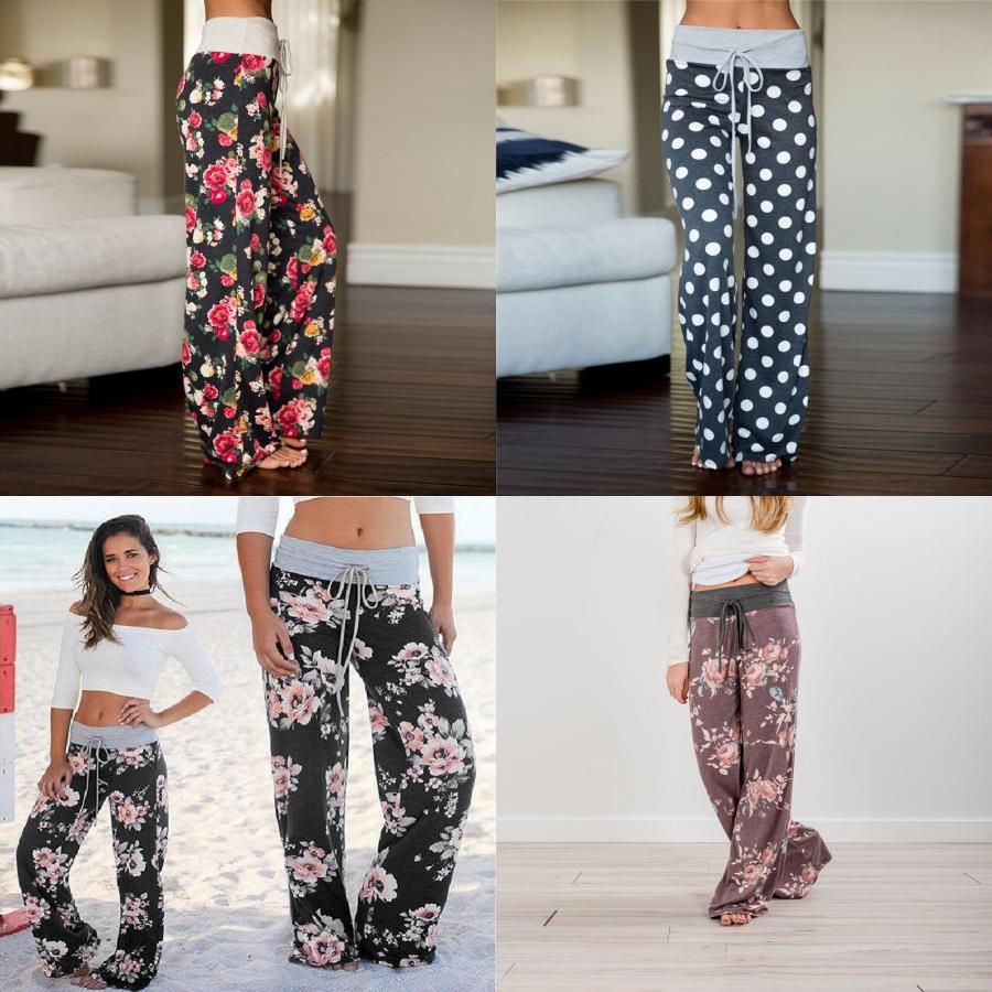 Women Vintage National Red Totem Floral Position Print Ig Waist Wide Leg Pants Cic Ow Tied Elastic Waist Long Trousers P072#618