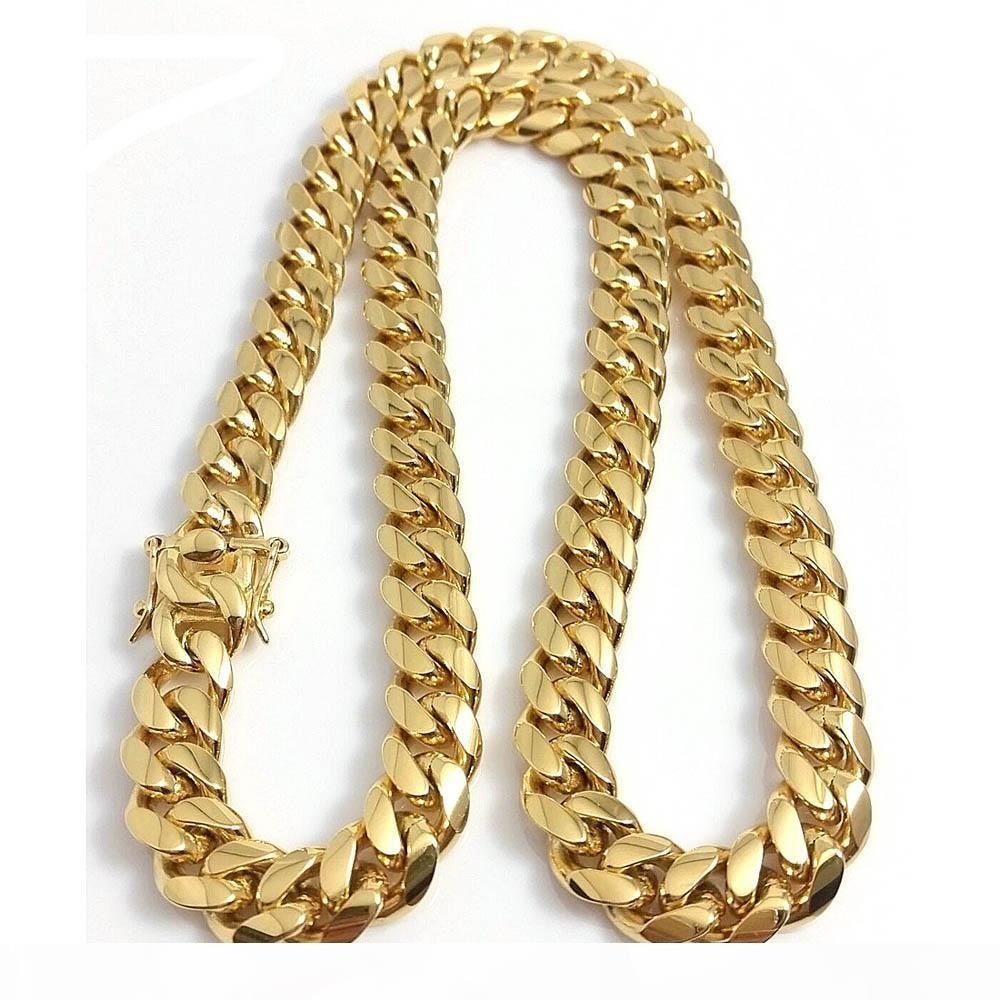10mm 12mm 14mm Miami cubana di collegamento Catene Catene Mens 14K placcato oro lucidato punk Curb gioielli in acciaio inossidabile Hip Hop