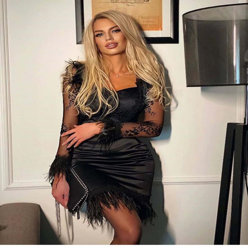 2020 del merletto sexy di nuovo autunno vestito dalla fasciatura delle donne eleganti Piume fasciature Vestito aderente sera della celebrità del partito