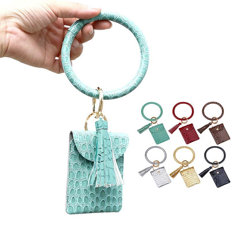 Hot Selling Large Circle Key Ring Bracelet Monogrammed Leather Wristlet Keychain Bracelet Bangle Keyring Holder with Mini Bags