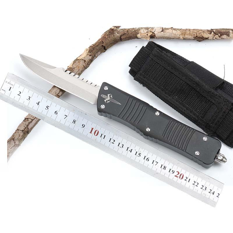 Automatic knife Microtech stone wash water drop D2 blade Aluminum alloy black titanium plating handle hunting pocket outdoor knife