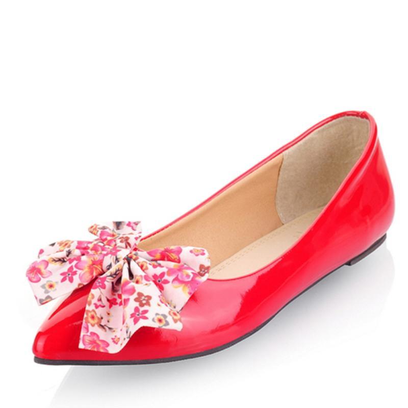 Deslizamiento de primavera nuevas mujeres planas de los talones planos Zapatos dulce Bowtied Rojo Azul Negro mujer de los holgazanes de las señoras de los planos del ballet Zapatos