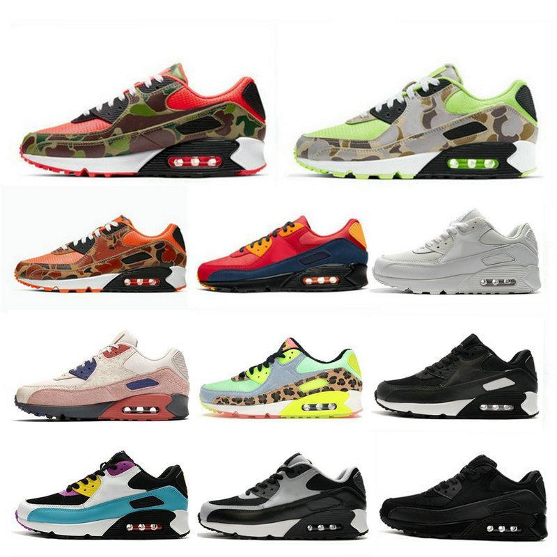 Clássico 90 homens correndo sapatos femininos chaussures 90 Camo Dancefloor tripla verde branco preto Infrared Grey formadores Sports Outdoor Sneakers