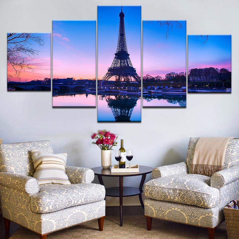 5pcs HD Inkjet Canvas Painting France Paris Tower Sunset Reflection Art Group Home Decoration Wall Poster Modular Picture