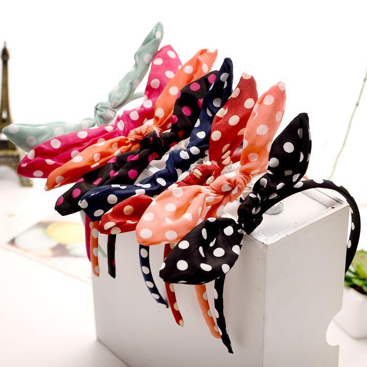 Kadınlar Polka Dot Baskı Headbands Tavşan Kulak şifon Saç Bantları Tatlı Sevimli Wahsing Yüz Forehead hairbands Şapkalar Kız Moda Saç Takı
