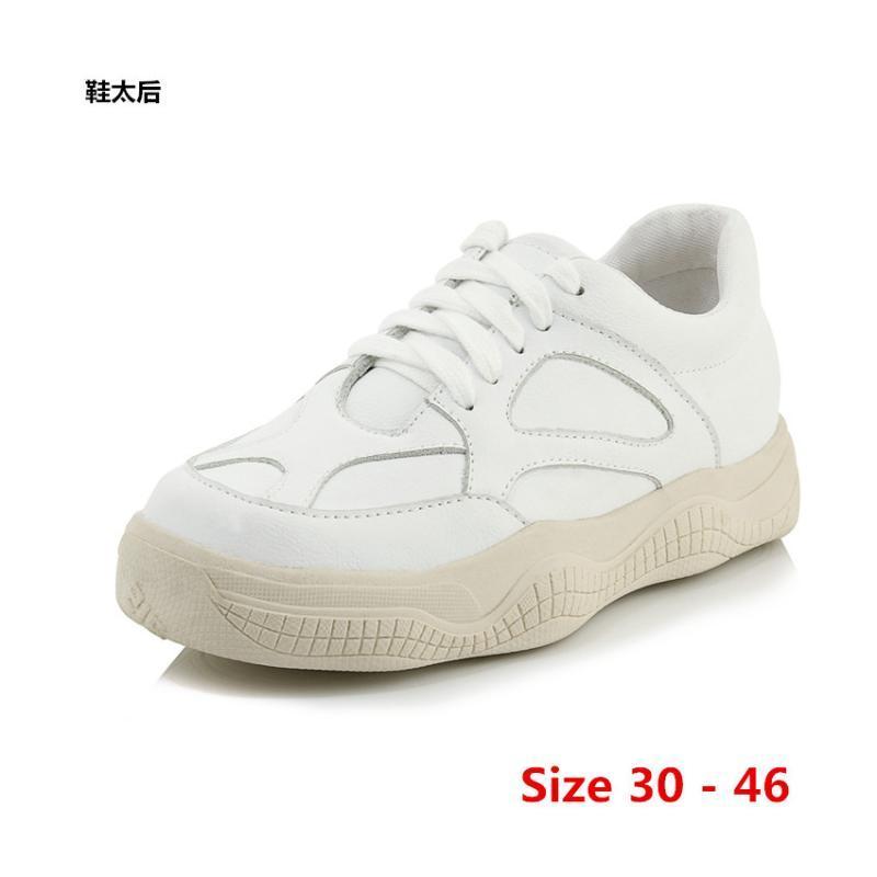 Platform Shoes Donne piatto Lace Up Appartamenti Estate Leggero Scarpe Donna casuale dame damesschoenen Piccolo grande formato 30 - 46