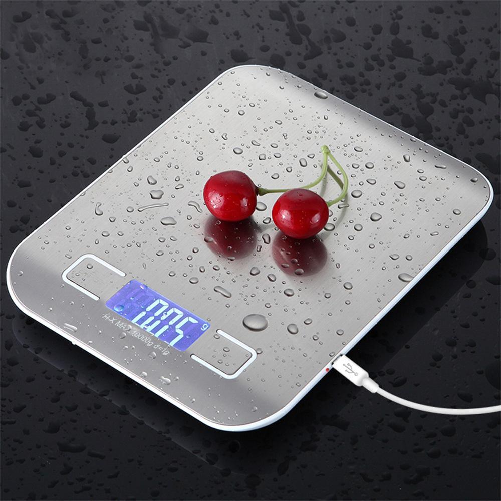 Acciaio inossidabile digitali USB Scale della cucina 5kg bilancia di precisione elettronica postale di dieta di cibo per cucinare cottura strumenti di misura Y200328