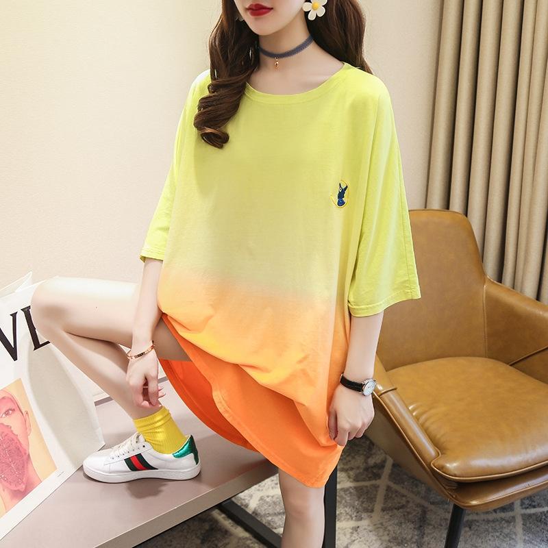 8vAr0 8RvbT de manga corta camiseta de la falda del vestido de moda redonda bordado camiseta cuello estilo de mediados de longitud de la ropa de verano 2020 de las mujeres de Corea