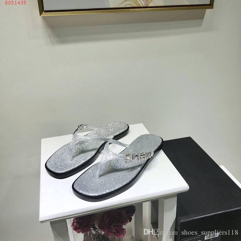 2020 contratto d'argento per il tempo libero bianco e il nero flip-flop per Paillettes signore e cinque disegni eleganti scarpe da spiaggia adornano