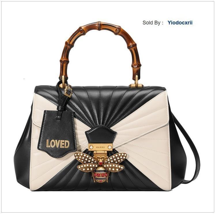 yiodocxrii HN2W White Bamboo Handles Bag Black Totes Handbags Shoulder Bags Backpacks Wallets Purse