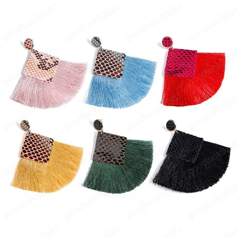 Borlas pendientes de la nueva de Bohemia 6 colores de la serpiente-PU de la impresión pendientes de cuero para la Mujer Accesorios Daily regalos de la joyería del oído