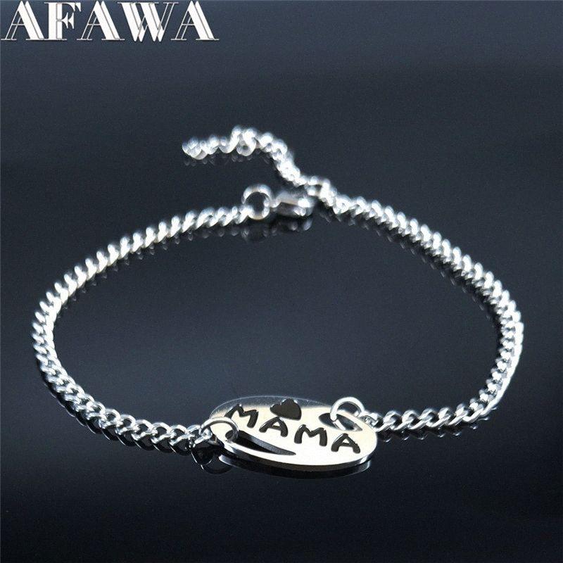 AFAWA 2020 Mama цепи нержавеющей стали Bbracelet для женщин серебряного цвета браслетов браслетов для мамы Подарочных ювелирных Joyas B1966S01 rmMM #