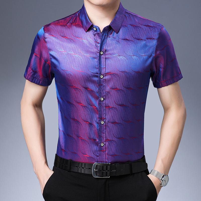 여름 남성 패션 2020 실크 셔츠는 캐주얼 블라우스 새틴 퍼플 웨딩 드레스 블루 드레스 플러스 사이즈 셔츠 그라디언트 망