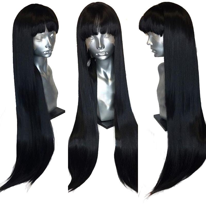 360 الرباط أمامي طويل مستقيم 100٪ الانسان الشعر الباروكات مع الجبهة الانفجارات هامش ريمي البرازيلي غلويليس إغلاق شعر مستعار للنساء السود