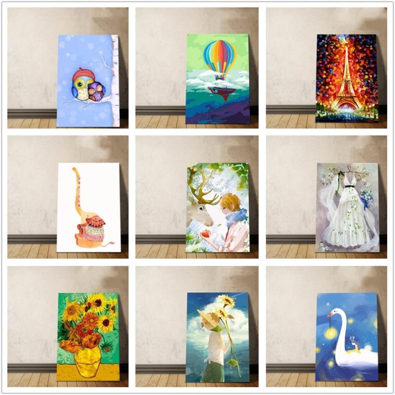 Personalizados Pintura al óleo digital DIY regalos de Van Gogh Picasso ilustraciones pintadas a mano para el amigo Copiar No Frame