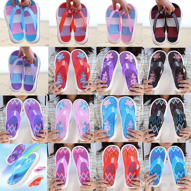 High Quality Rubber Sandals Floral starry sky ladies Fashion Slippers Red White Gear Bottoms Flip Flops Womens Slides Casual Flats slippers