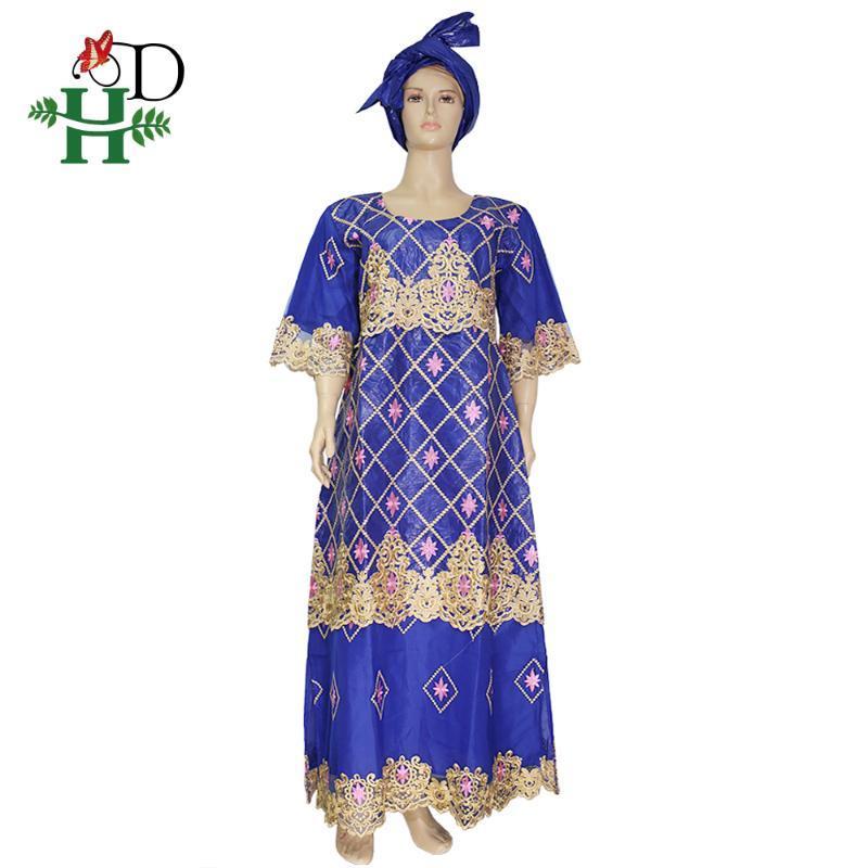 HD 2020 Vêtements sud-africains Blue Dentelle Robe pour femmes Bazin Riche Maxi Robes Nigérian Mariage Foulard Africain Femme