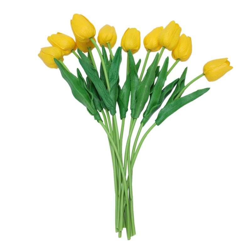 10pcs Giallo lattice reale di tocco del fiore del tulipano con foglie di Wedding Bouquet Decorare