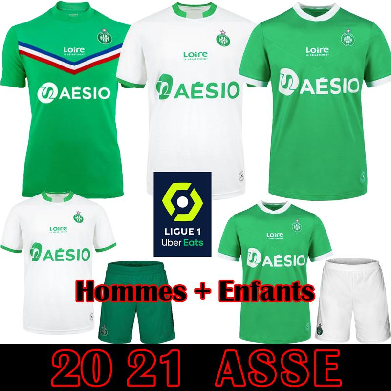 Maillot ASSE 2020 2021 AS Etienne Fußballjerseys 20 21 Khazri Cabella BERIC Hamouma Le Coq Sportif Erwachsene Kinder Kit Football-Shirts Ausrüstung