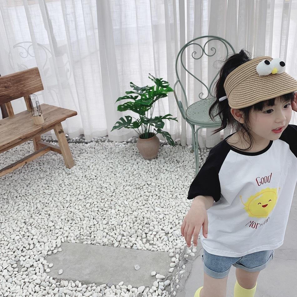 INS chapéu de sol bonito palha para meninos e meninas do bebê Verão chapéu de palha engraçado tridimensionais grandes olhos superior vazio