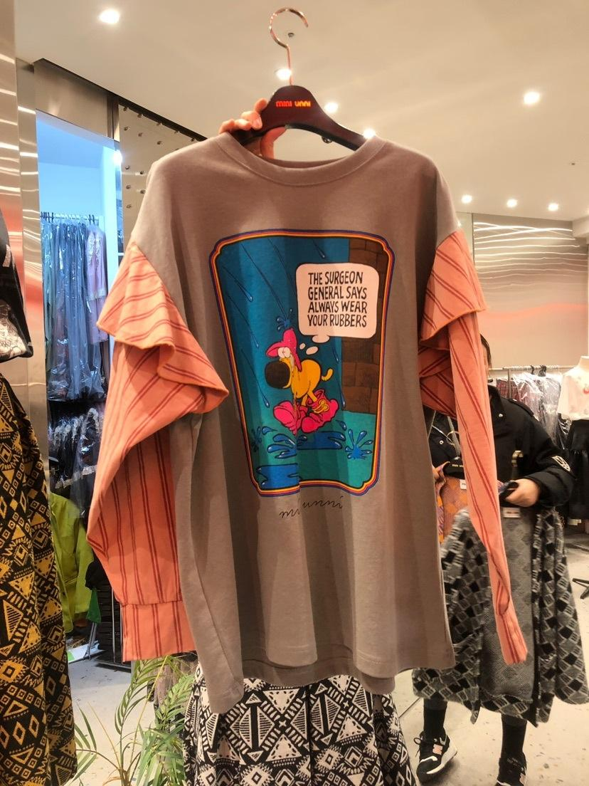 PVygI T7IdE Корейский износ 2020 весной новый женский контраст стиль Тондэмун Корейский длинный рукав оборками цвет печати свободный свитер свитер Fo