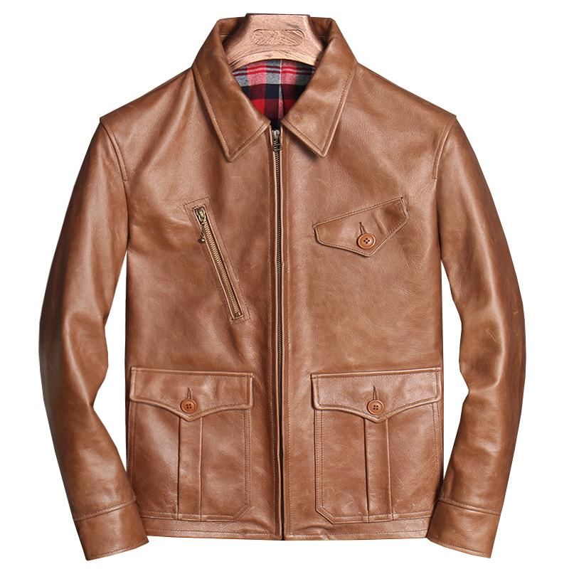 2020 2020 Light Brown Casual Style Genuine Leather Jacket ...