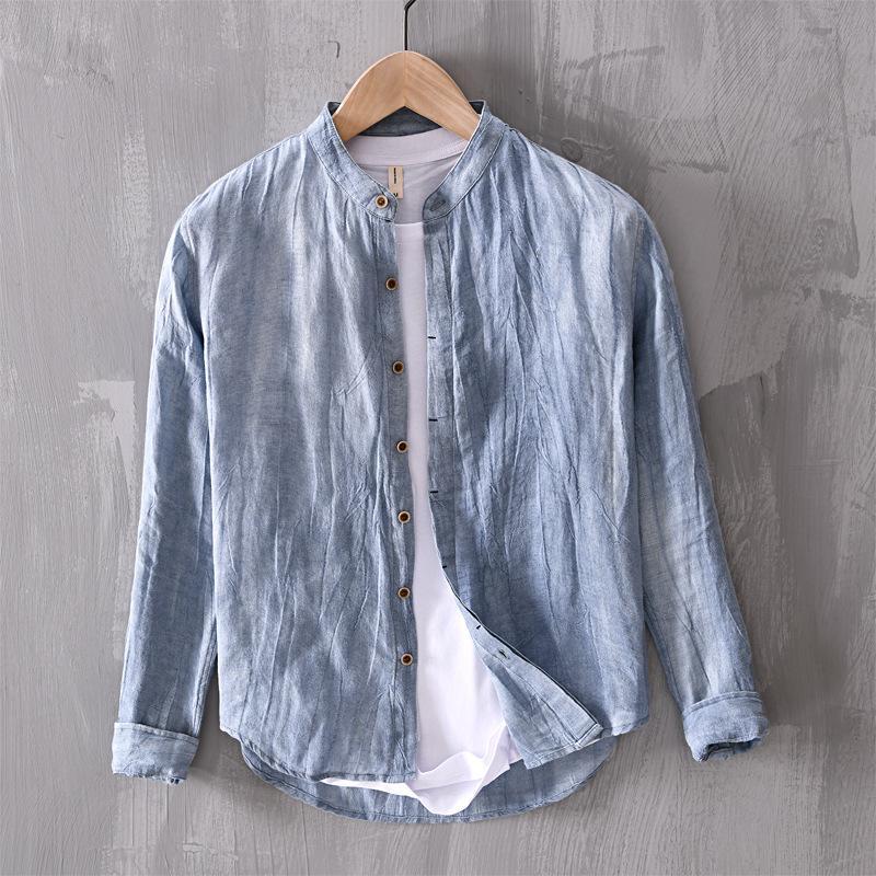 2020 della molla di nuovo stile Lino UOMINI camicia a maniche lunghe della gioventù Comodità Rugosa Viso stand colletto della camicia