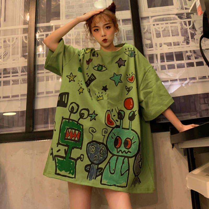 T-shirt Lapin Punk vert Femmes Harajuku Hip Hop T-shirt Femme Casual manches mi-longues Femmes Vêtements Japon en vrac High Street shirt MX200721
