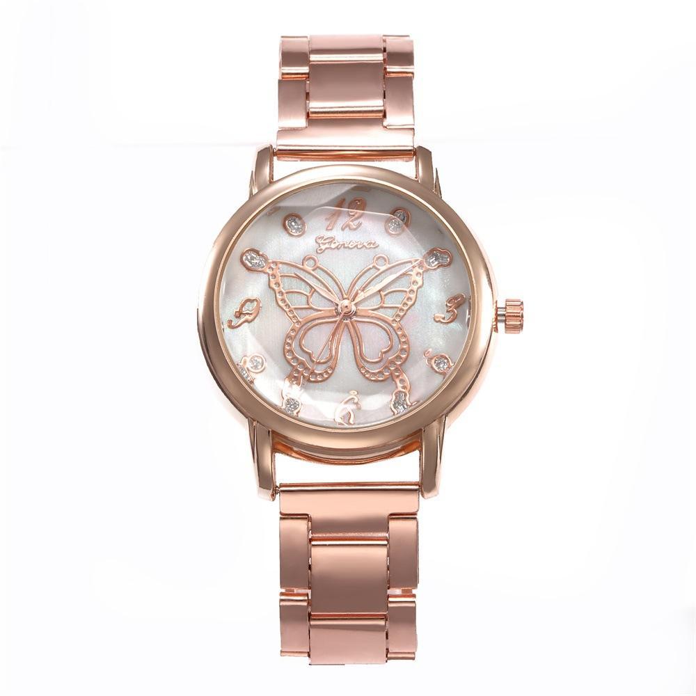 여성 스테인레스 스틸 합금 Bowknot 손목 시계 여성 패션 캐주얼 석영 손목 시계 크리스마스 선물 무료 배송