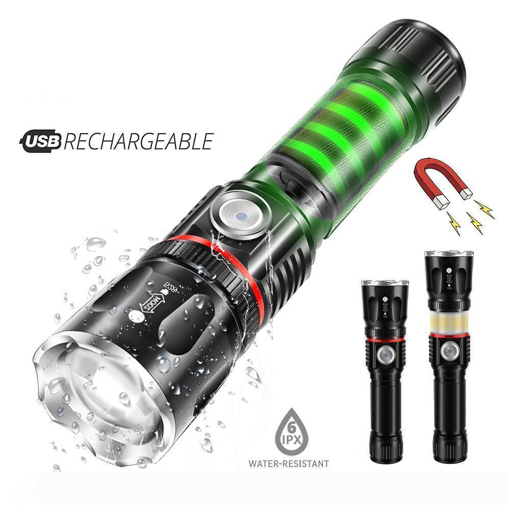 USB Şarj İleri teknoloji LED el feneri Etraftaki COB lamba + Kuyruk mıknatıs tasarım Destek yakınlaştırma 4 aydınlatma modları Su geçirmez Meşale
