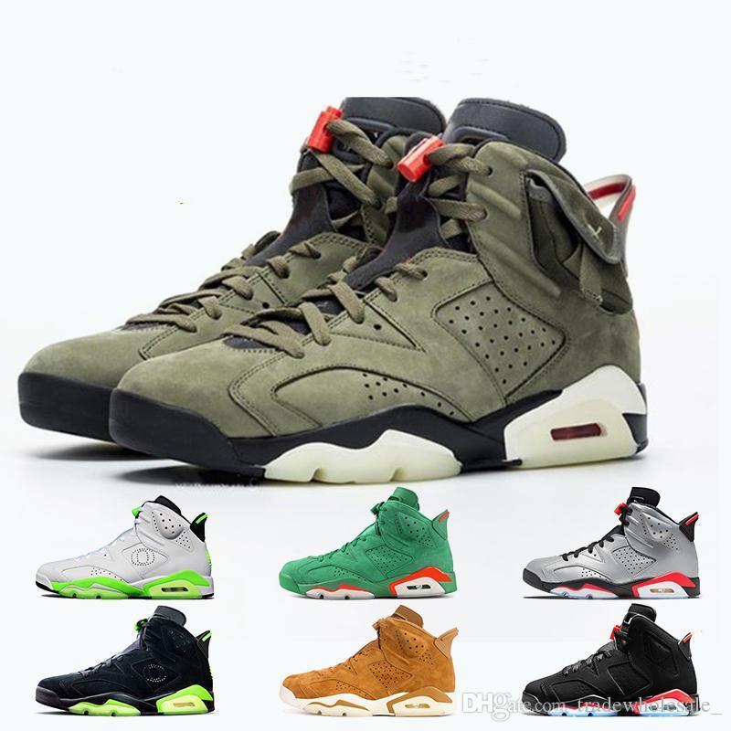 أحذية ذات جودة اعلى Jumpman ترافيس سكوتس 6 6S الرجال لكرة السلة 3M عاكس الأشعة تحت الحمراء ولاية أوريغون البط المدربين أحذية رياضية